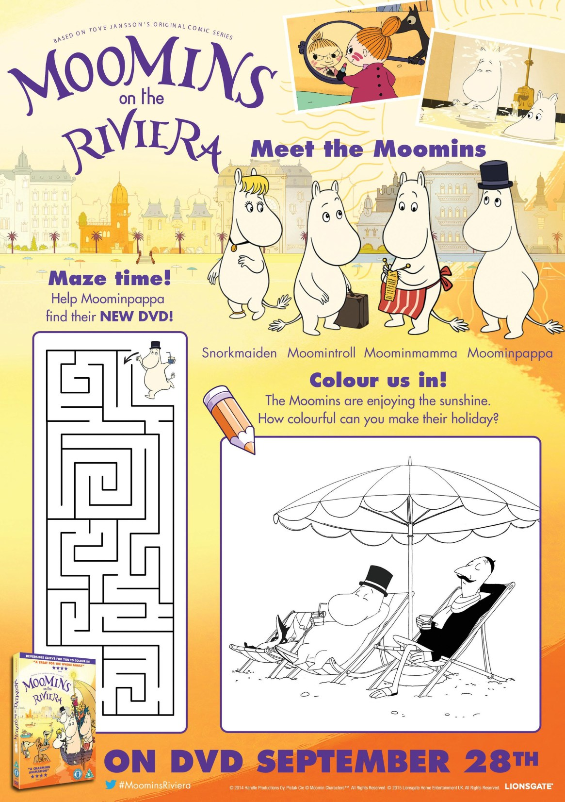 moomins printable activity sheet with maze and colouring