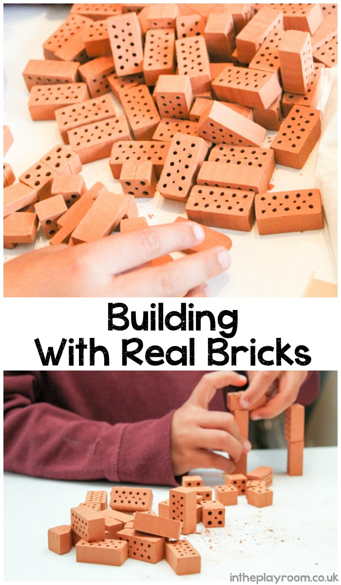Building with real bricks and cement using the kids can kit. Great construction activity
