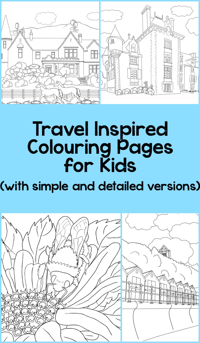travel inspired colouring pages for kids, simple and detailed versions available to download free