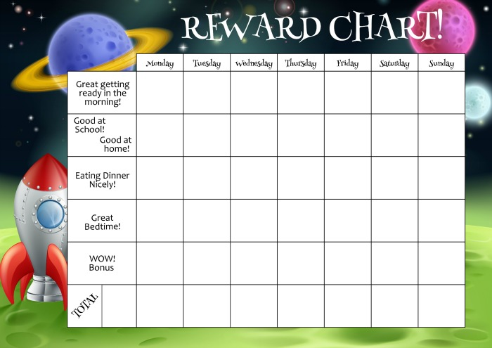 reward chart for kids to use with stickers or stars