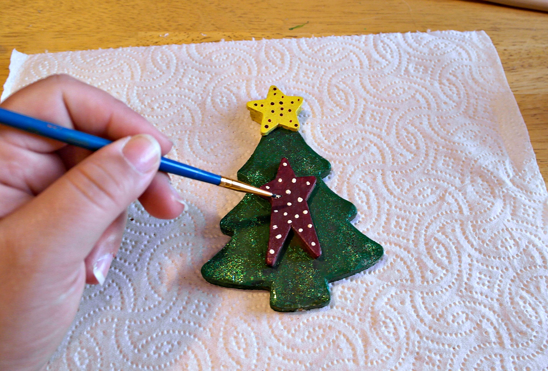 painting salt dough christmas tree
