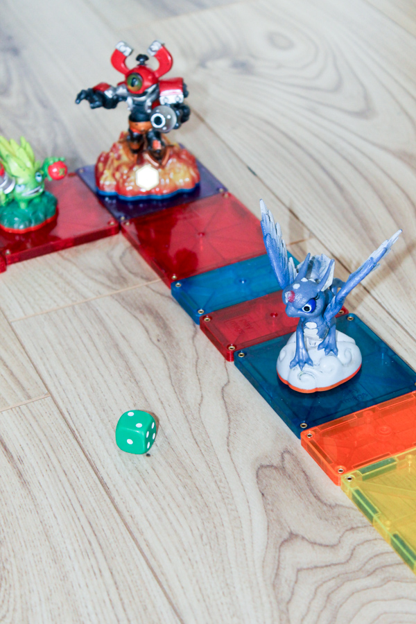 diy board game with magnatiles and skylanders