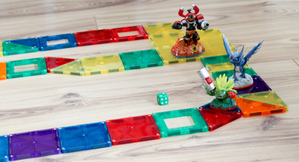 diy board game with magnatiles and skylanders