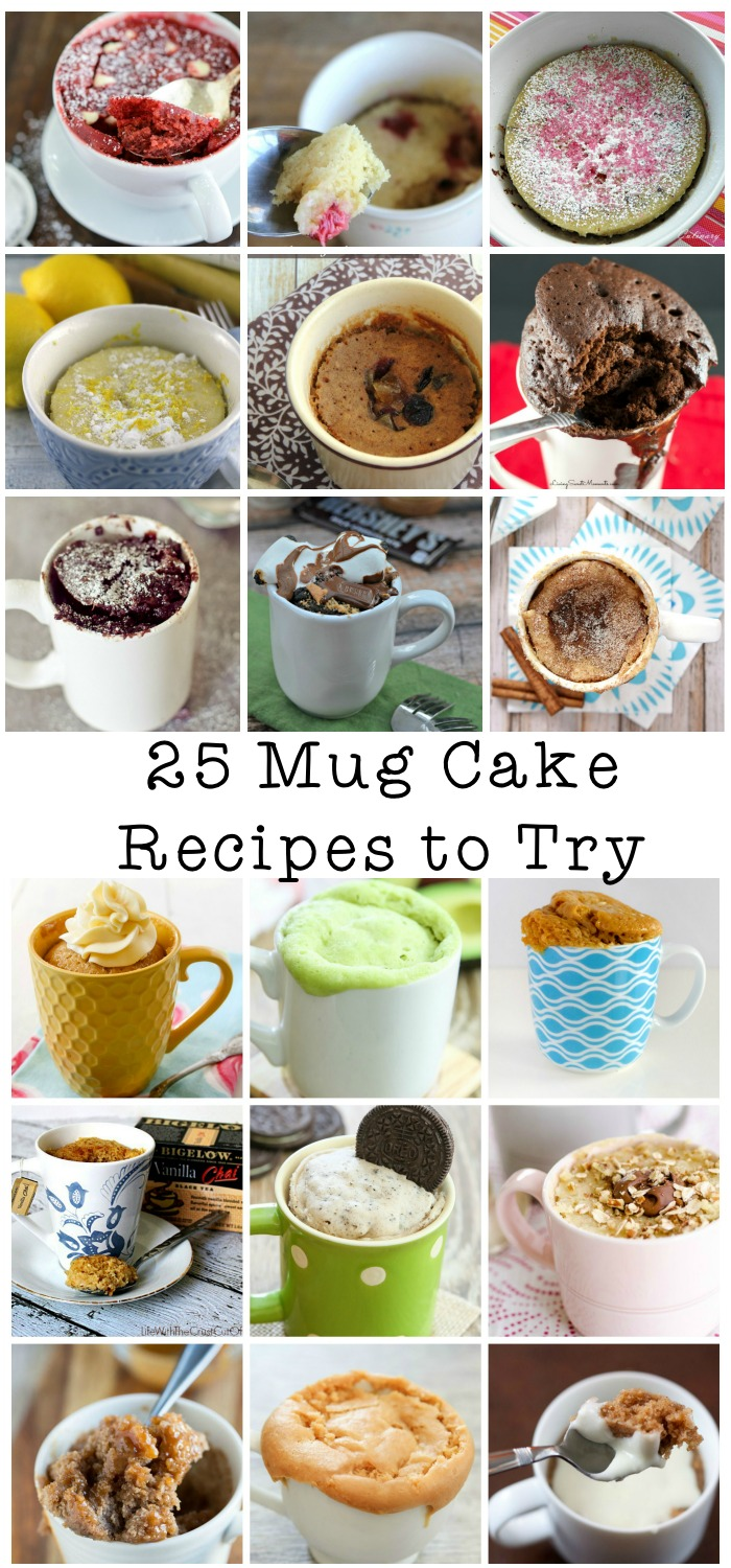 25 mug cake recipes to try, great list with all kinds of microwave mug cakes from chocolate mug cakes to fruity ones - strawberry, apple, lemon and more