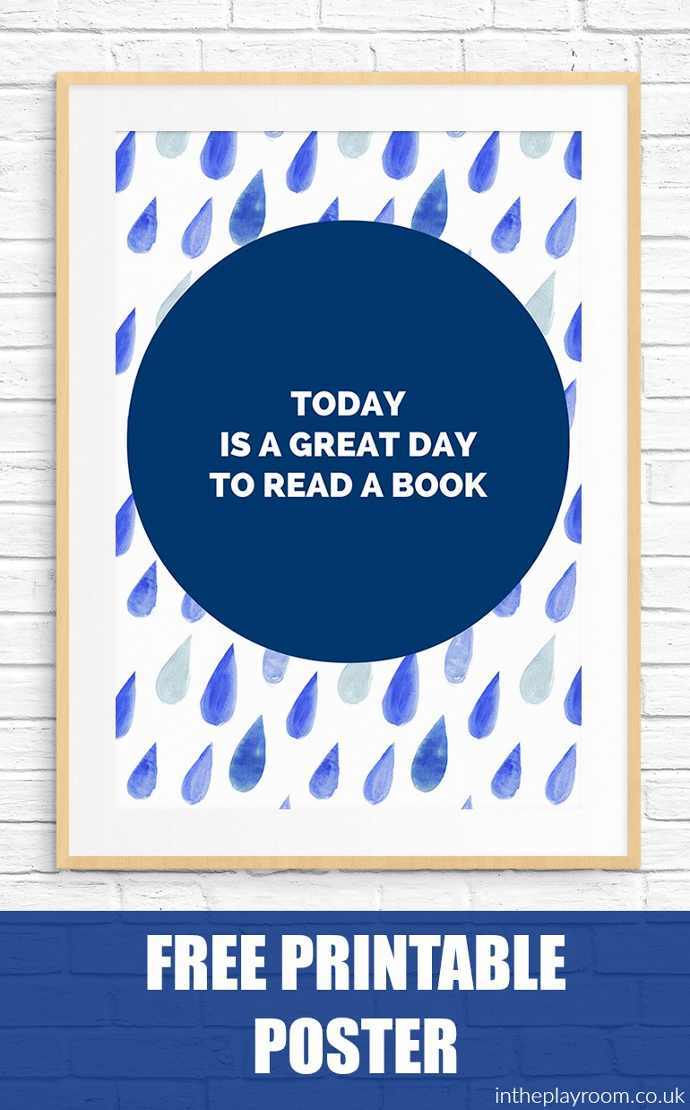 "free printable poster with a reading quote, great to decorate a reading nook or library, or child's bedroom. ""Today is a great day to read a book"""