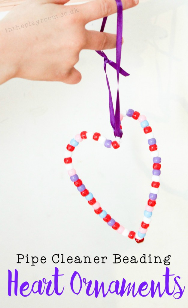 These pipe cleaner beading heart decorations for Valentines day are really easy for kids to make, and great fine motor practice with the threading