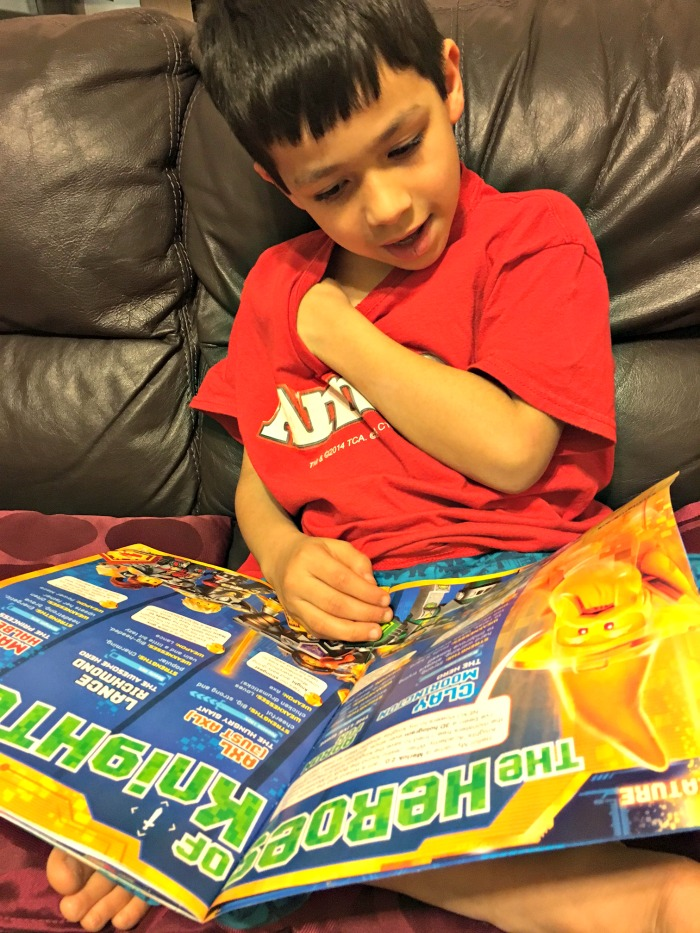 reading the LEGO® NEXO KNIGHTS™ Magazine