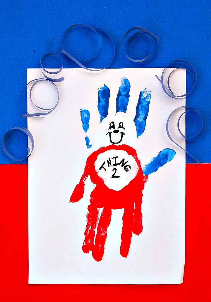 Easy handprint Thing 1 and Thing 2. This Dr Seuss craft is great for celebrating Dr Seuss' birthday or if you're looking for book inspired crafts for World Book Day