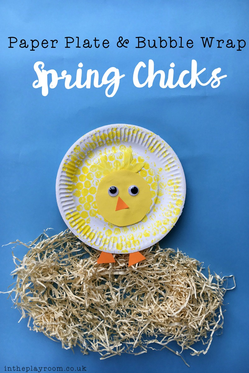 super cute paper plate and bubble wrap spring chicks craft for kids to make.