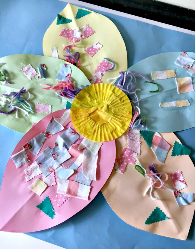 colourful flower collage for toddlers