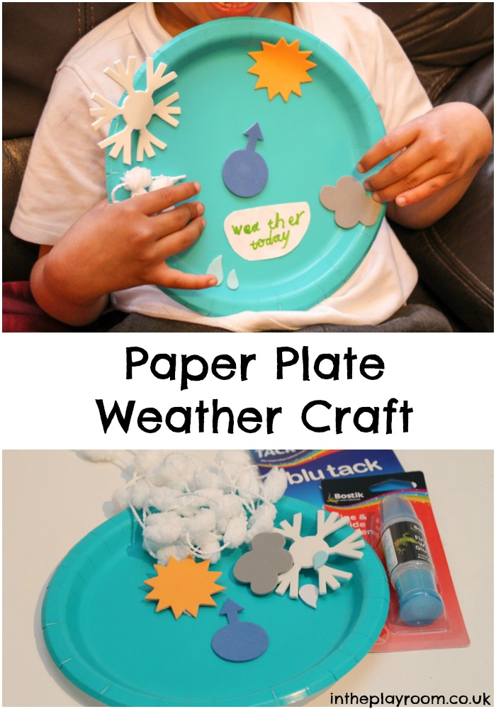 simple paper plate craft to help children learn different types of weather