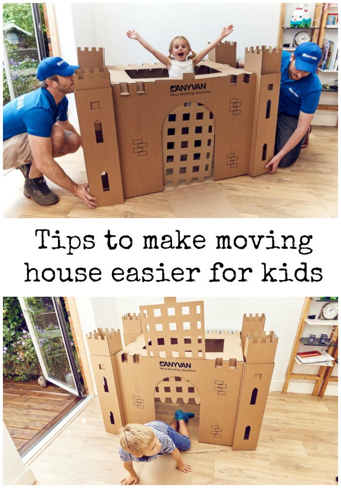 tips to help make moving easier for kids, and cardboard box forts