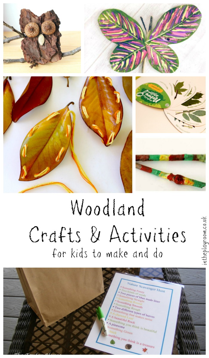 Nature crafts for kids, woodland activities to make and do after visiting the woods