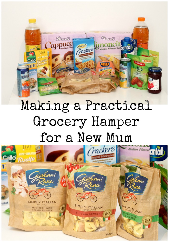 Making a practical grocery hamper for a new mum gift, with ideas of treats and quick and easy to prepare meals