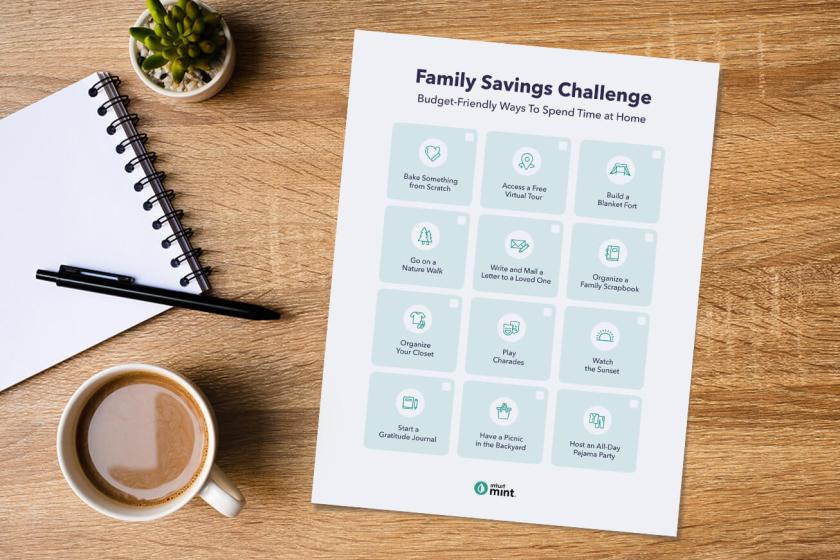 family savings challenge printable with ideas of fun free things to do
