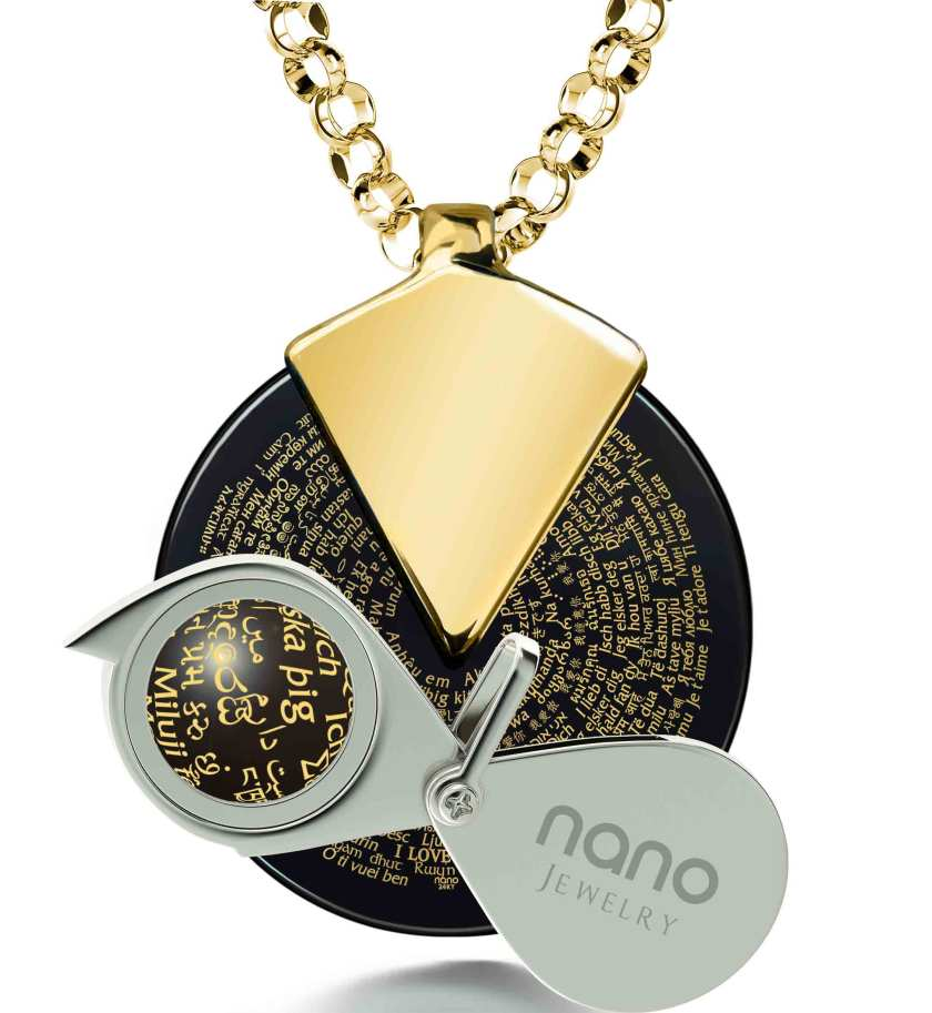 Nano Style I love you in 120 languages necklace with magnifying glass