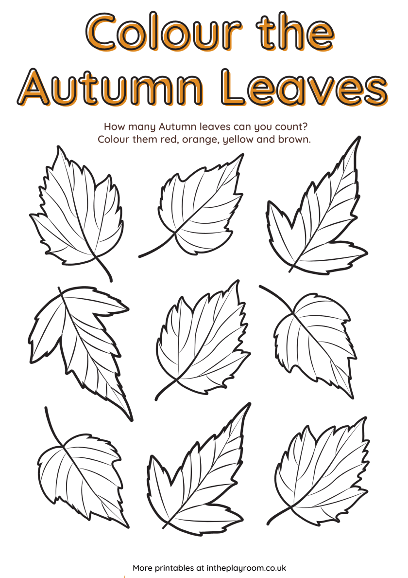 free printable fall coloring sheet. Color the autumn leaves