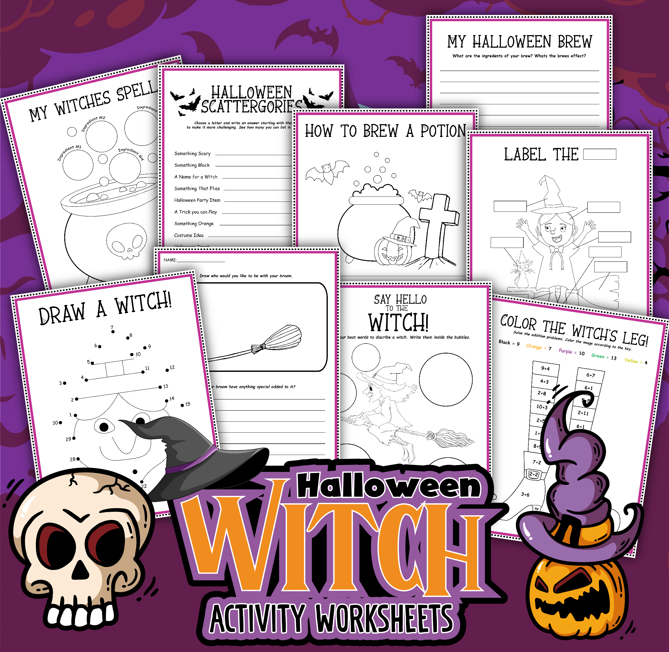 Free Printable Pack Educational Witch Activities for Halloween Learning