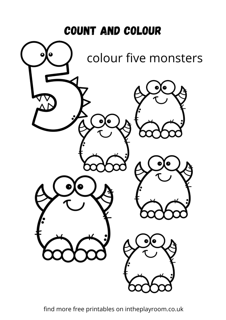 count and color monsters - five
