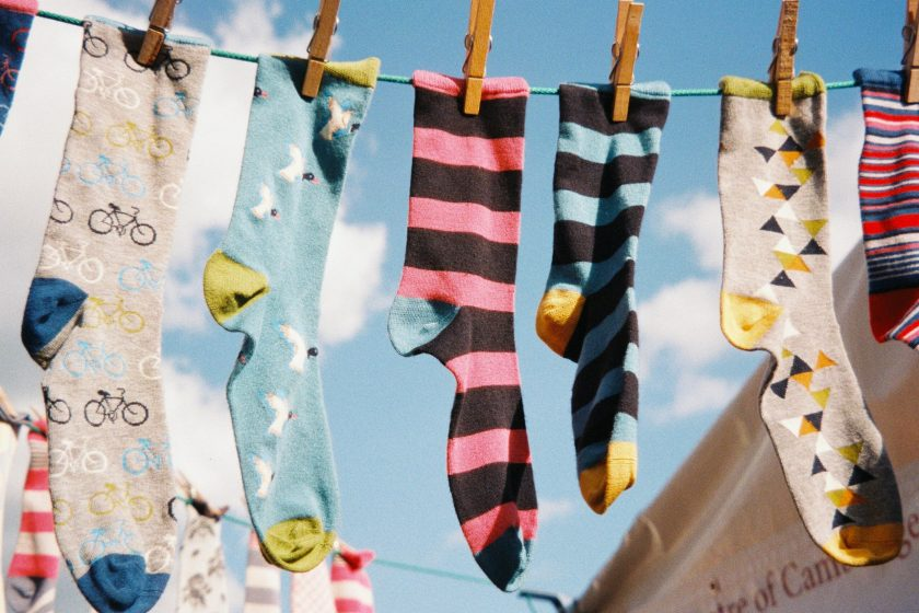 colourful patterned socks