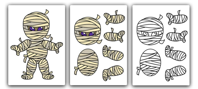free printable mummy craft for kids. Halloween craft template