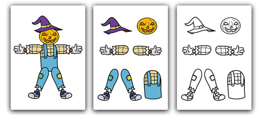 free printable cut and stick character Pumpkin man scarecrow for Halloween