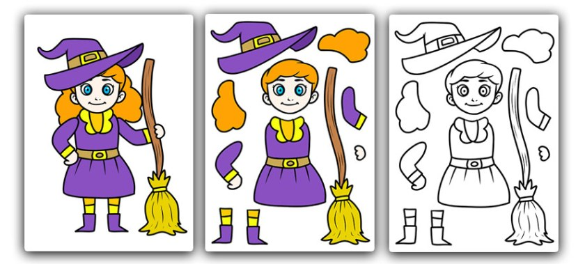 free printable witch craft for kids. Halloween cut and stick craft template