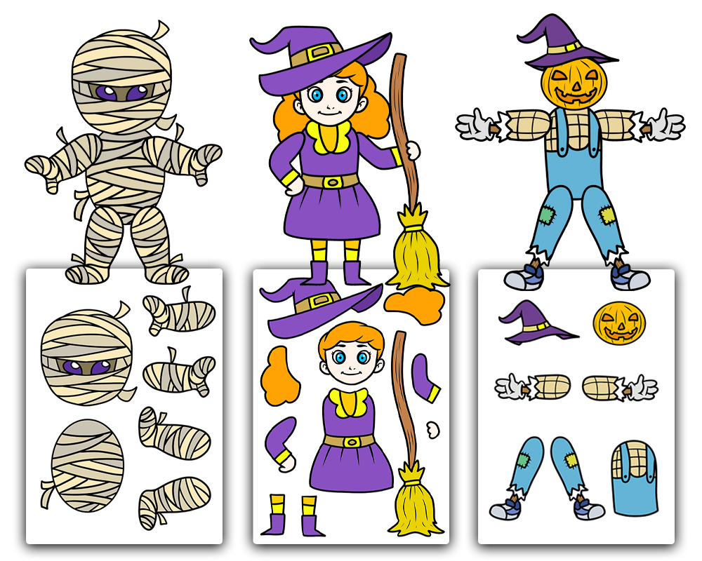 Halloween Paper Cut out characters  Free Printable