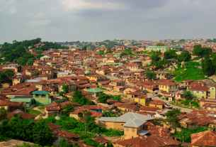 top view of houses and building roofs