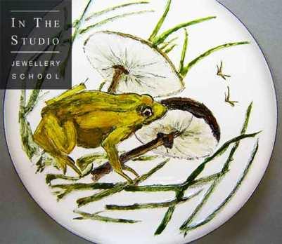 Enamelled-frog-brooch