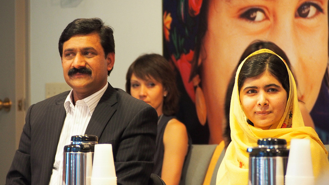 Malala and her father at the UN; photo by gpforeducation on Flickr