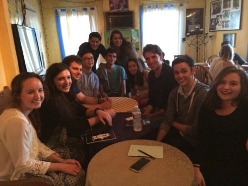 Students gather in the Fountain Cafe before the performance.