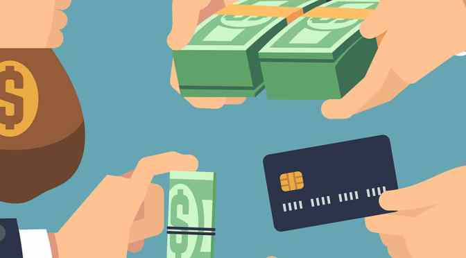 Animated image of various forms of money, including cash, credit cards, and coins.