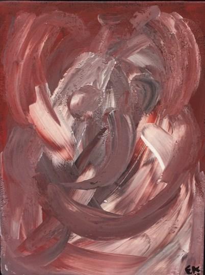 'hold mig'er det første maleri jeg malede. Det er lille, 18x24 cm, og udtrykker den usikkerhed jeg tænker en 'elefant i et glasbur' må føle når det kæmpe dyr står der med skrøbeligheden tæt omkring sig på alle sider. Hvem har ikke behov for at blive holdt om i den situation?