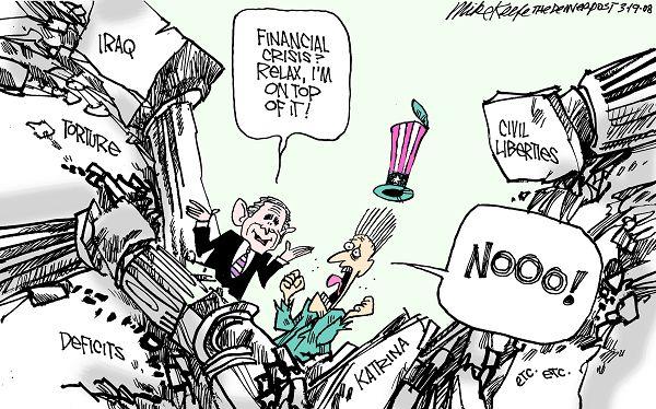 Economic crisis and Bush in the USA, cartoon