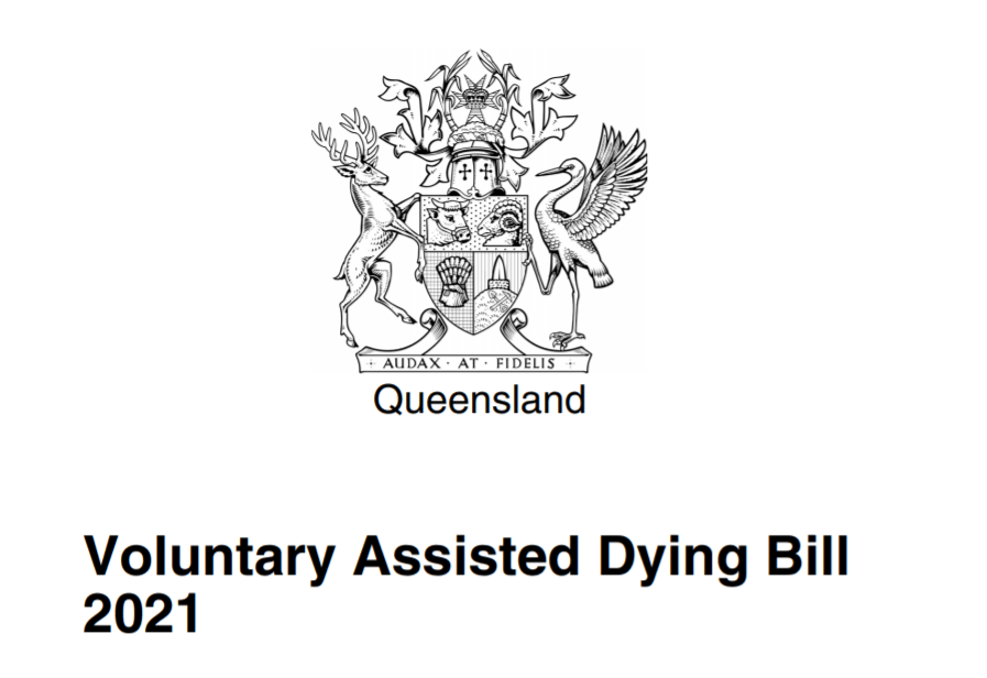Screenshot of the front page of the Voluntary Assisted Dying Bill 2021 features the official crest of the Queensland Government.