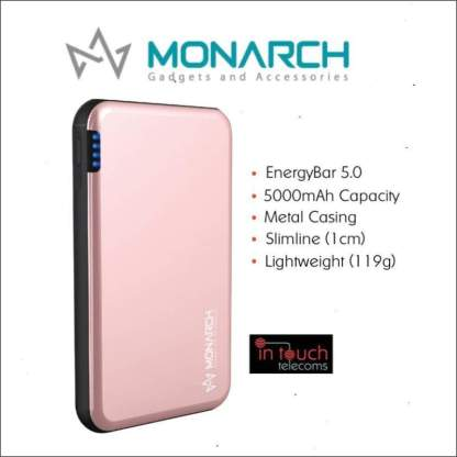 Monarch Gadgets Metal 5000mAh Rechargeable Power Bank | Fast Charge