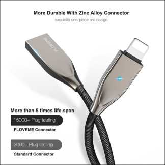 Zinc Alloy Nylon Braided Lightning Cable for iPhone and iPad | Fast Charger