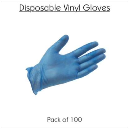 Disposable Vinyl Gloves (Box of 100) | Meets the WHO Standards for Covid-19