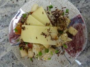 Dancing Lion | Yuzu Potato Salad with smoked cheddar, organic sauteed pears, chive and 68% dark Nyangbo