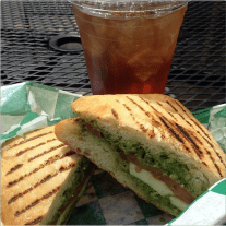 J Dubs Coffee | Caprese and iced tea lunch