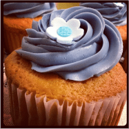Baked | Blueberry Jamboree - a vanilla cupcake with house made blueberry jam in the center and vanilla bean frosting