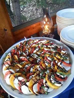 Tidewater Catering   Tomato and Mozzarella Salad with Fresh Basil and Balsamic Reduction.