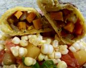 Dancing Lion Chocolate |Sweet potato & Machu Picchu 65% dark chocolate Pierogi served with cold corn salad