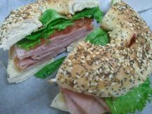 Suddenly Susan's | ham sandwich on a toasted bagel
