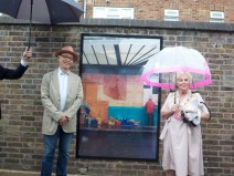 The artist Albert Kueh and The Mayor of Kensington and Chelsea Mrs. Elizabeth Rutherford by one of the artworks