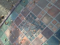Batchelder tile in sidewalk leading to Batchelder house