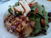 Roasted chicken, Spinach, Berries, Walnuts and Brie with a Raspberry Vinaigrette