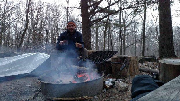 Breakfast by campfire