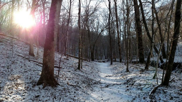 A snowy hike at Yellow River State Forest.